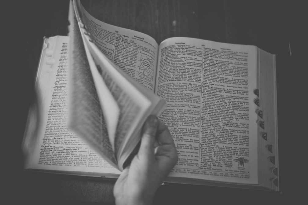 black and white book browse dictionary